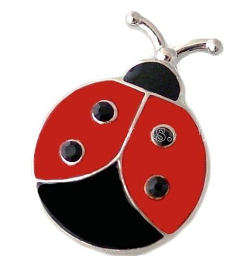 Red Ladybug Black Rhinestone 20mm Snap Charm For Ginger Snaps Magnolia Vine