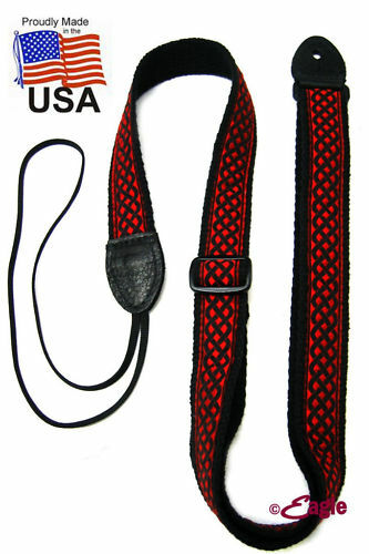 Chicago 'Kells' Woven Mandolin Strap in Red Green Purple & Beige for F- style