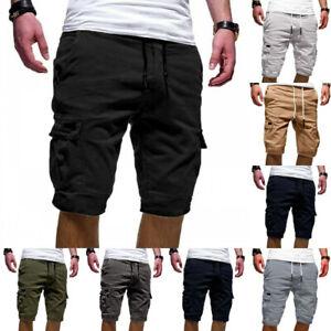 Herren-Cargo-Shorts-Bermuda-Arbeitsshorts-Freizeit-Kurze-Hosen-Knielang-Sport