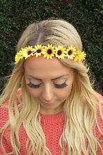 Yellow Orange Daisy Sunflower Chain Flower Garland Headband Hair Band Crown 1956