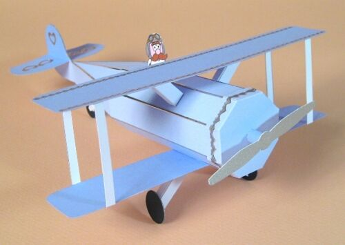 A4 Card Making Templates-3D Opening Biplane.
