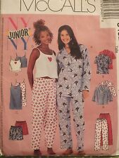 OOP McCALLS 3432 Jrs PJs/Top Pants/Shorts Camisole Nightgown PATTERN 3/4-9/10 UC
