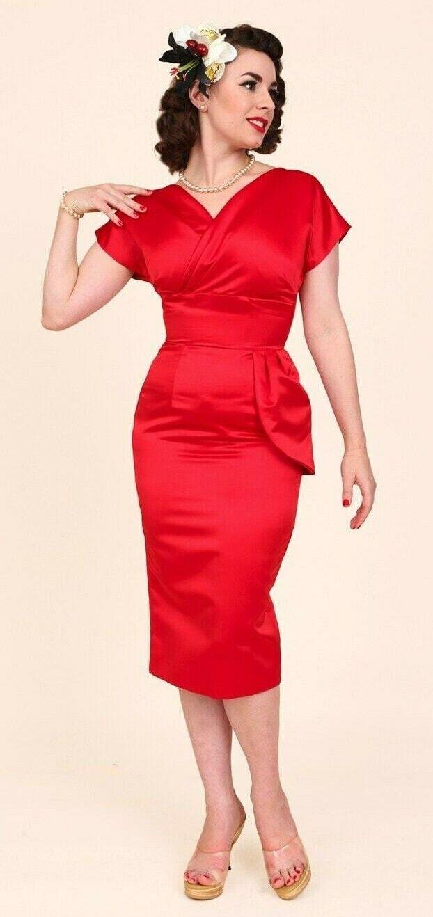 Vivien of Holloway Jezebel rot Duchess dress Größe UK 10 NEW