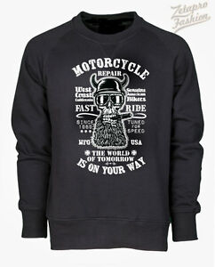 FELPA-ROUTE-66BIKER-CUSTOM-CHOPPER-HARLEY-STAMPA-TESCHIO-MOTORCYCLE-REPAIR