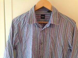 Mens-Hugo-Boss-Shirt-Medium-Blue-Stripes-Regular-Fit-Long-Sleeve-Used-HUGO-BOSS