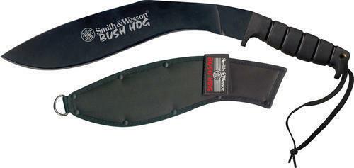 Smith /& Wesson SWBH Bush Hog Kukri Machete Black Fixed Blade Knife//Rubber Handle