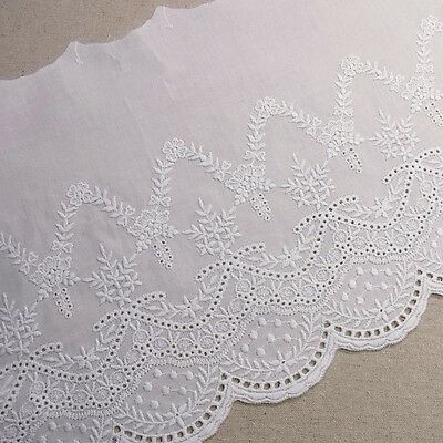 1 Yard Embroidery Cotton Fabric Eyelet Lace Trim Flowers White 20cm Wide
