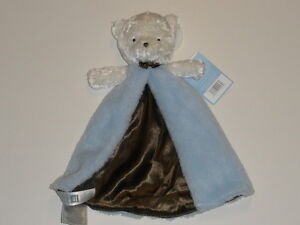 NWT Carters White Bear Blue Brown Satin Lined Security Blanket Rattle Baby Toy