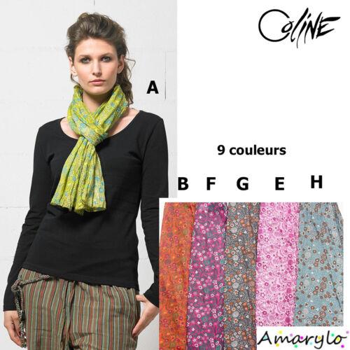 Marque COLINE 9 couleurs Foulard Echarpe Chèche aspect froissé Coton Fleurs