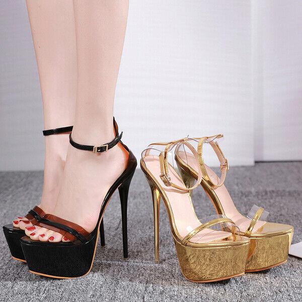 Sandalen Schmuckstück Stilett Plateau Schwarz Gold Poliert Leder Synthetik 17 CM