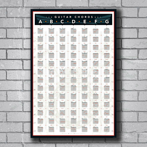 New Guitar Chords Chart by Key Music Custom Poster Print Art Decor T-177