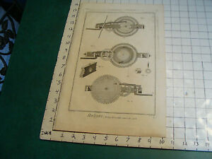 "Original engraving 1760's 10 1/2 x 16"" Horloge Horizontalle Sonnerie des Quarts"