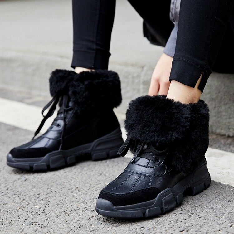 Casual Round Toe Wedge Heels Women's Winter Warm Faux Fur Lined Ankle Snow Boots