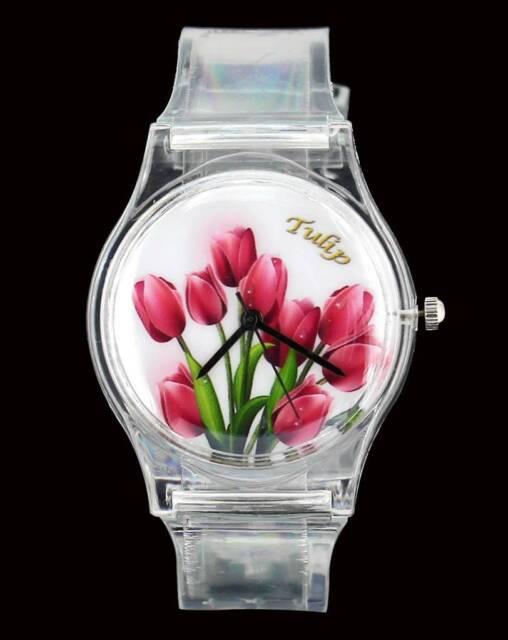 Bright Flower Tulip Women Ladies Transparent Band Fashion Casual Wrist Watch