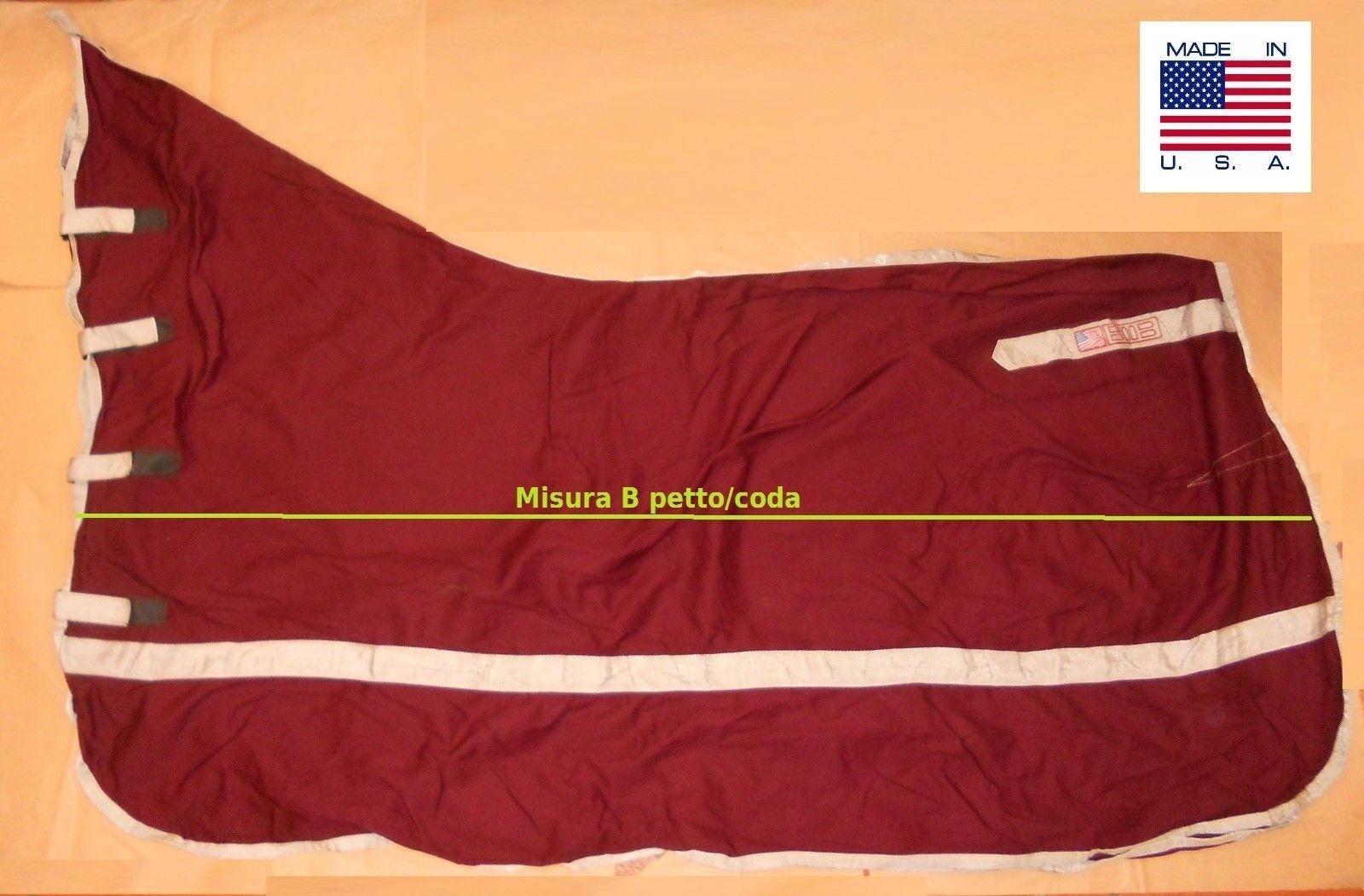Coperta cotone passeggio cooler show blanket collo cavallo BMB bordeaux M 7276