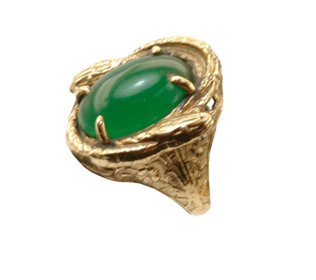 Two Snake Art Nouveau Style 14k Gold Sizable Ring with Green Chrysoprase