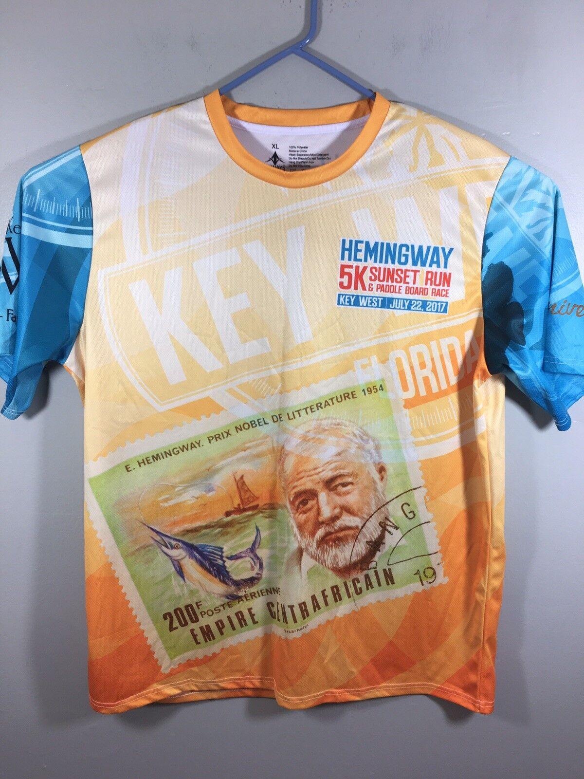 Hemingway 5K Key West Sunset Run Shirt Size XL 2017 Gold Blue