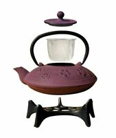 Old Dutch Greek Wine Cast Iron Kamakura Teapot with Stand 26 Oz. Purple Kitchen