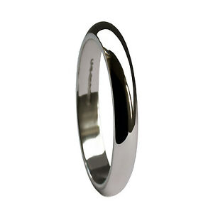 2mm-9ct-White-Gold-D-Shape-Wedding-Rings-Profile-Bands-375-UK-Hallmarked-1-9g