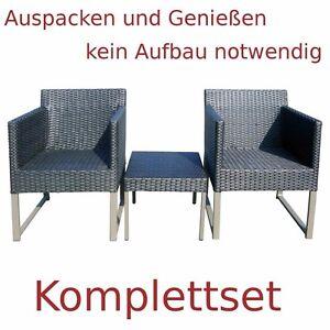 Details zu Polyrattan Set 2 Sessel + 1 Hocker outdoor alu Lounge Sessel grau