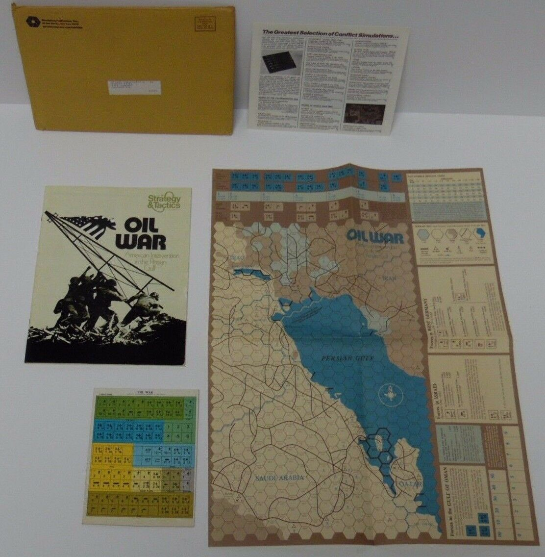 New Vintage 1975 OIL WAR USA US MIDDLE EAST PERSIAN GULF SPI Military Board Game