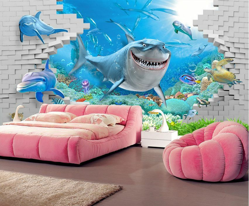 3D Lovely Sharks Through Stone 32 Wall Paper Wall Print Decal Wall AJ Wall Paper