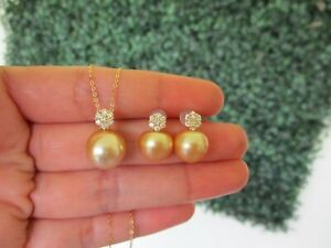 SALE‼️.50 CTW Diamond w/Pearl Earrings & Necklace Set 18k Yellow Gold JS117 sep