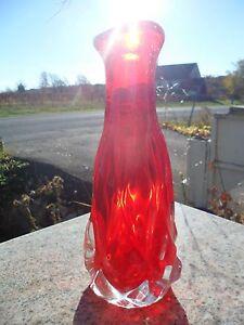 Mid-Century-Modern-Red-Orange-Clear-Art-Glass-Vase-10-034-Vintage-Heavy