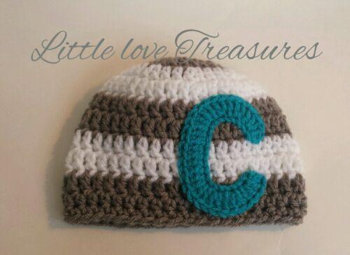 Newborn Baby Monogram Striped Letter Hat Crochet Photo Prop Personalized Cap