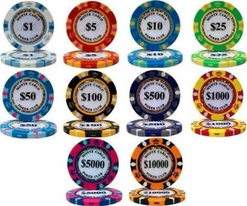 50 Orange Monte Carlo 14g $10,000 Dollars Clay Poker Chips Buy 2 Get 2 Free