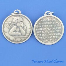GUARDIAN ANGEL WITH PRAYER MEDALLION .925 Solid Sterling Silver Charm or Pendant