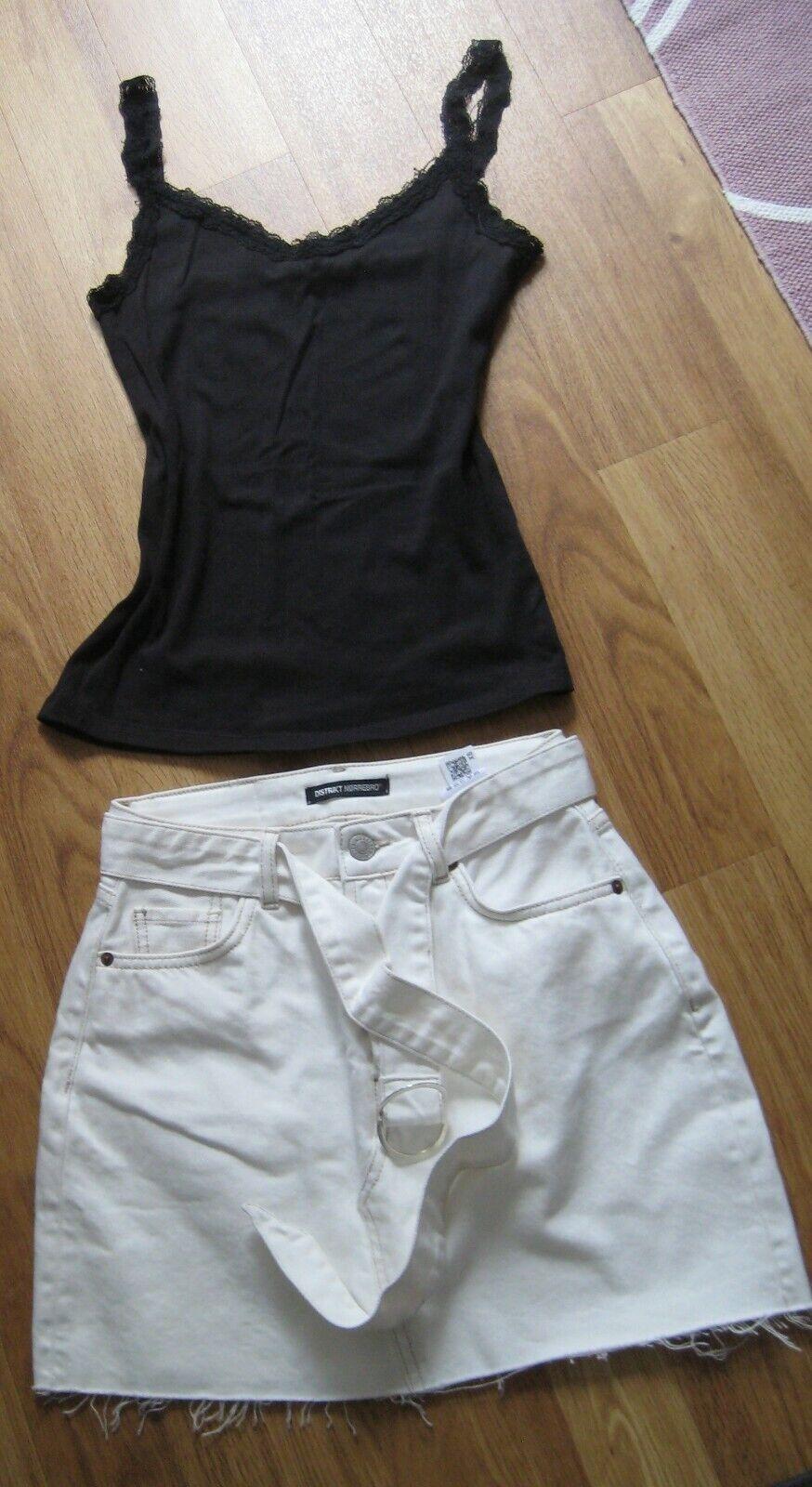 Stylische Kombi - Jeans-Minirock - weiß - weiß - Mango - Top - schwarz - 34/36