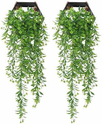 Grün 2.4M Hängepflanze Künstliche Efeuranken Kunstpflanzen Rattan Blatt Deko To