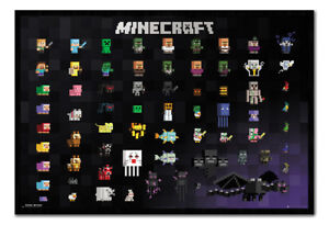 Minecraft-Pixel-Sprites-Poster-Framed-Cork-Pin-Board-With-Pins