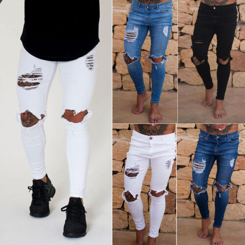 Pants Fit Biker Men Denim Us Stretchy Destroyed Taped Y Slim Jeans Skinny Ripped PPf6wzXg