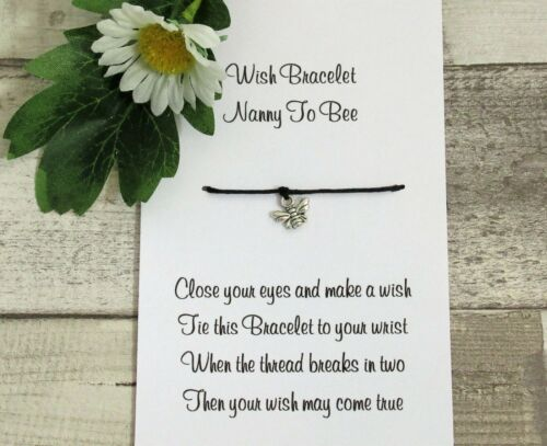 Auntie To Bee Wish Bracelet Nanny Gift Card Bee Charm Anklet Pregnancy Reveal