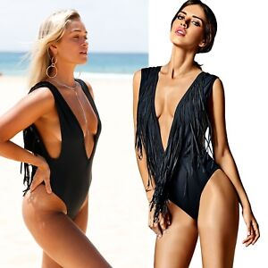 PLUNGE-Deep-V-FRINGE-Tassel-MONOKINI-Black-REVERSIBLE-High-Cut-SWIMWEAR-034-S-034-6-8
