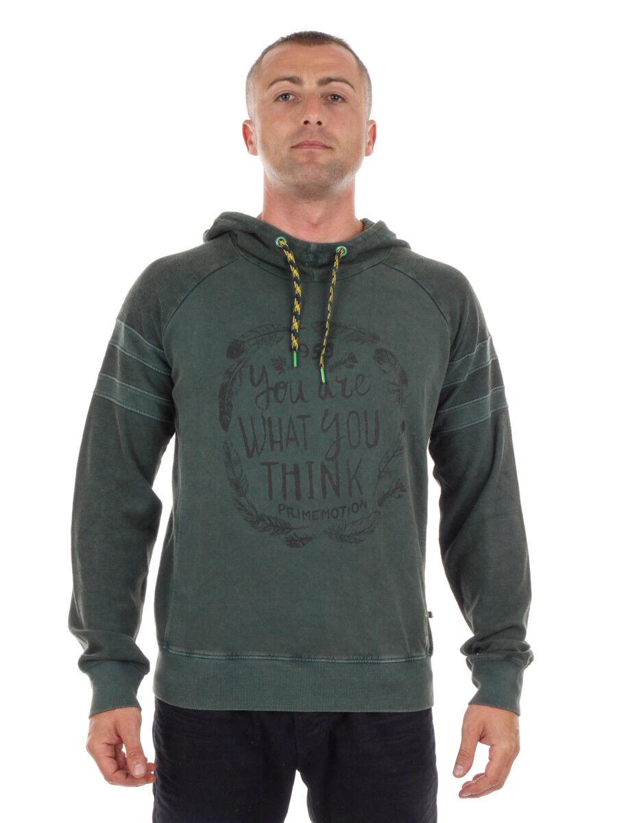 PrimEmotion Sweatpullover Hoodie Kapuzenshirt grün Tunnelzug Print