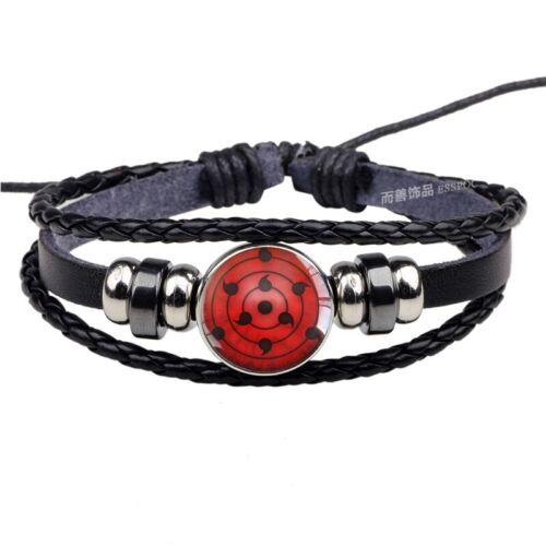 Uchiha Clan Rinnegan Sharingan Eye Bracelet Anime Naruto Braided Leather Bracele