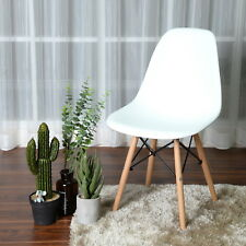 Premium White DSW Dowel Wood Leg Side Chair Mid Century Modern M-CM Set of 4