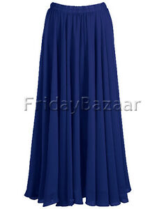 454261e766 Royal Blue | Chiffon 2 Layer Reversible Long Skirt Full Circle S~3XL ...