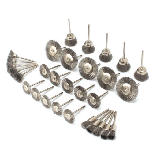 30Pcs Stainless steel Wire Wheel Flat Cup Pen Brush Set for Rotary Tools