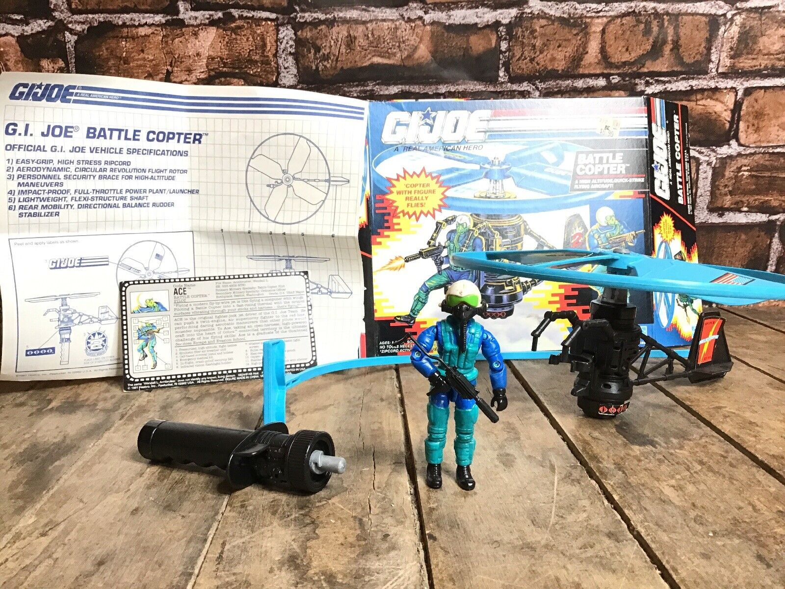 Gi Joe Cobra batalla Copter con piloto ACE (1991) Caja abierta de menta 100% completo un verdadero héroe americano