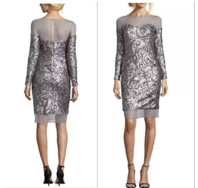 Badgley Mischka Sequence Elegant Metallisch-Grau Kleid Ret. Sz 10