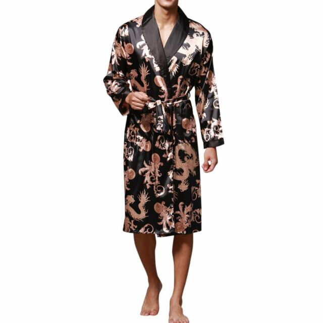 Haseil Men/'s Satin Robe Dragon Luxurious Silk Spa Long Sleeve House Kimono Bathr