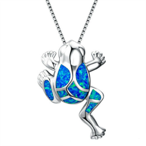 Frog Pendant Necklace Blue Animal Necklaces For Women Men Party Jewelry Gift