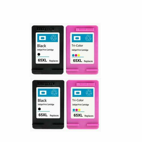 4 Pack for HP 65XL Black Tri-color Remanufactured Ink Cartridge Show Ink Level