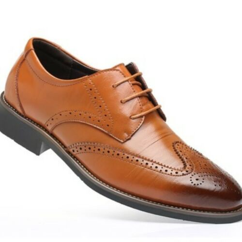 Mens Oxford Leather Shoes Formal Dress Pointed Toe Brogue Wing Tip Carving Vogue