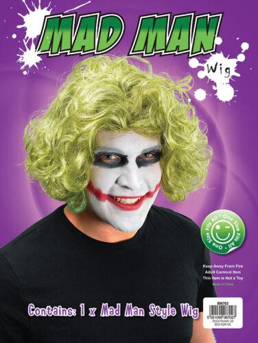Mad Man Curly Wig #Green Wavy Wig Joker Halloween Party Fancy Dress Accessory