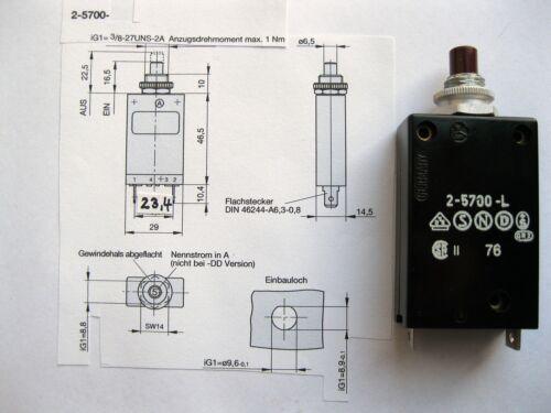 ETA Schutzschalter thermisch 2-5700-L 5A Überstrom Schalter E-T-A altes Model
